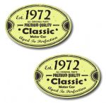 PAIR Distressed Aged Established 1972 Aged To Perfection Oval Design Vinyl Car Sticker 70x45mm Each